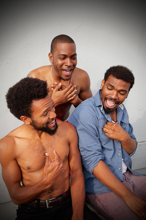 Pictured left to right: Gabriel Christian as Oshoosi, Julian Green as Elegba, and Lakeidrick S. Wimberly as Ogun in The Brothers Size by Tarell Alvin McCraney. A Theatre Rhinoceros Production at The Eureka Theater. Photo by Steven Ho.