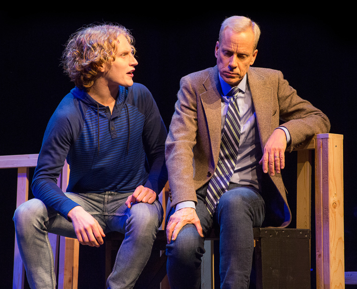 Pictured left to right: Morgan Lange as Alan and John Fisher* as Dr. Dysart in Peter Shaffer's Equus, directed by John Fisher. A Theatre Rhinoceros Production at the Eureka Theatre; Photo by David Wilson *Member Actors Equity Association