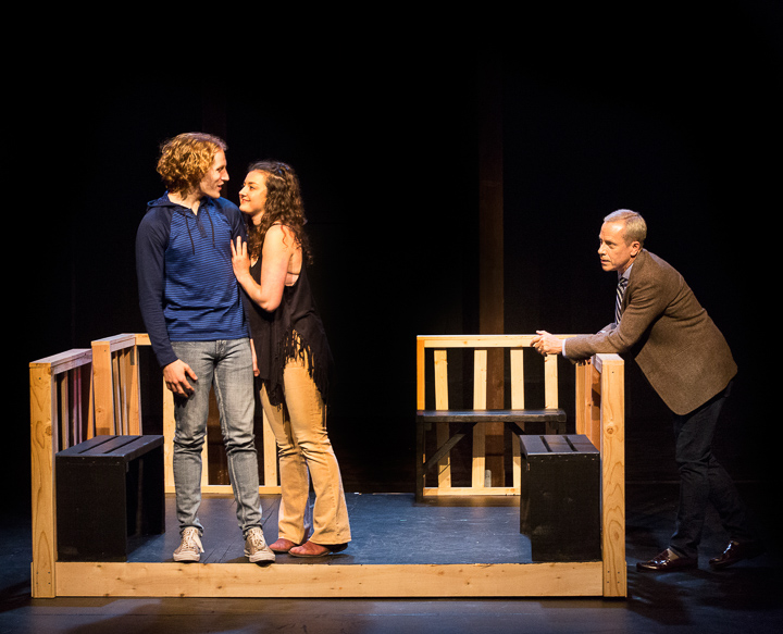 Pictured left to right: Morgan Lange as Alan, Iris Haas-Biel as Jill, and John Fisher* as Dr. Dysart in Peter Shaffer's Equus, directed by John Fisher. A Theatre Rhinoceros Production at the Eureka Theatre; Photo by David Wilson *Member Actors Equity Association