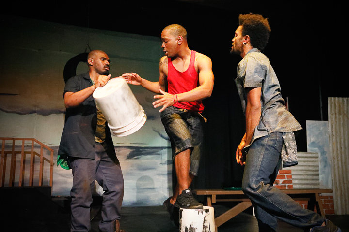Pictured left to right: LaKeidrick Wimberly as Ogun, Julian Green as Elegba, and Gabriel Christian as Oshoosi in Tarrel Alvin McCraney's THE BROTHERS SIZE, directed by Darryl V. Jones A Theatre Rhinoceros Production at the Eureka Theatre; photo by Steven Ho.