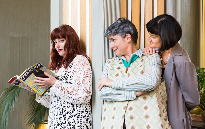 Pictured left to right: Haley Bertelson as the Young Girl, Kathryn L. Wood as Gertrude Stein, and Elaine Jennings as Alice B. Toklas.
