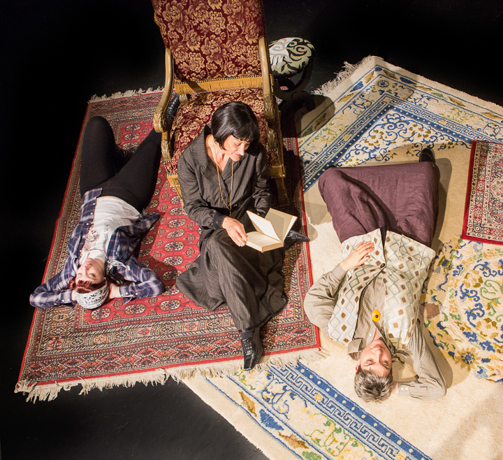 Pictured left to right: Haley Bertelsen as Everybody Else, Elaine Jennings as Alice and Kathryn L. Wood as Gertrude in Win Wells's GERTRUDE STEIN AND A COMPANION directed by Kathryn L. Wood and John Fisher A Theatre Rhinoceros Production at the Eureka Theatre. Photo by David Wilson.