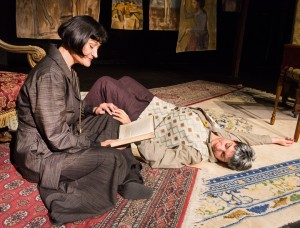 Pictured left to right: Elaine Jennings as Alice and Kathryn L. Wood as Gertrude in Win Wells's GERTRUDE STEIN AND A COMPANION directed by Kathryn L. Wood and John Fisher A Theatre Rhinoceros Production at the Eureka Theatre. Photo by David Wilson.