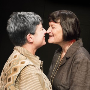 Pictured left to right: Kathryn L. Wood as Gertrude and Elaine Jennings as Alice in Win Wells's GERTRUDE STEIN AND A COMPANION directed by Kathryn L. Wood and John Fisher A Theatre Rhinoceros Production at the Eureka Theatre. Photo by David Wilson.