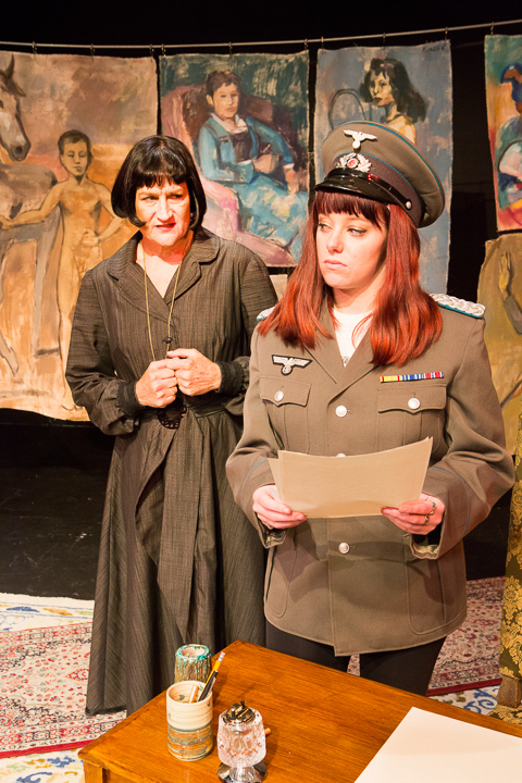 Pictured left to right: Elaine Jennings as Alice and Haley Bertelsen as Everybody Else in Win Wells's GERTRUDE STEIN AND A COMPANION directed by Kathryn L. Wood and John Fisher; A Theatre Rhinoceros Production at the Eureka Theatre. Photo by David Wilson.