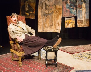 Kathryn L. Wood as Gertrude in Win Wells's GERTRUDE STEIN AND A COMPANION directed by Kathryn L. Wood and John Fisher A Theatre Rhinoceros Production at the Eureka Theatre. Photo by David Wilson.