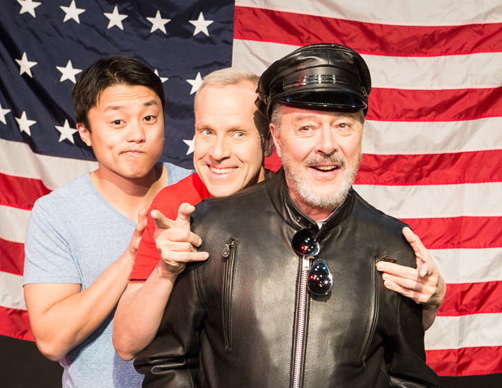 Pictured left to right: Daniel Chung as Endin, John Fisher* as Aaron, and Donald Currie as Dobbins Del Rey in FLIM-FLAM by John Fisher A Theatre Rhinoceros Production at the Eureka Theatre; Photo by David Wilson.