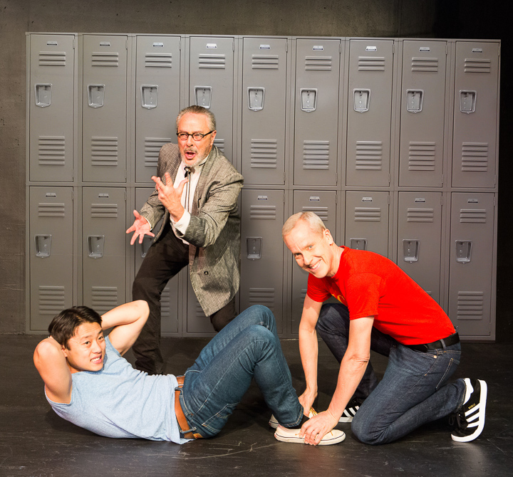 Daniel Chung as Endin, John Fisher* as Aaron, and Donald Currie as Dobbins Del Rey in FLIM-FLAM by John Fisher A Theatre Rhinoceros Production at the Eureka Theatre; Photo by David Wilson.