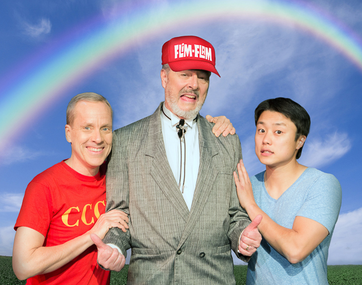 Pictured left to right: John Fisher* as Aaron, and Donald Currie as Dobbins Del Rey, and Daniel Chung as Endin in FLIM-FLAM by John Fisher A Theatre Rhinoceros Production at the Eureka Theatre; Photo by David Wilson.