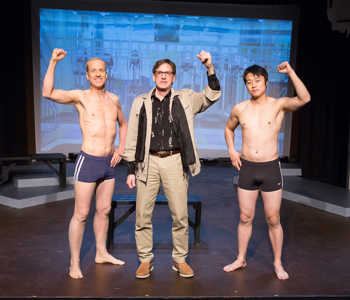 Pictured left to right: John Fisher* as Aaron, Kevin Copps as Harribal, and Daniel Chung as Endin in FLIM-FLAM by John Fisher; A Theatre Rhinoceros Production at The Eureka Theatre. Photo by David Wilson