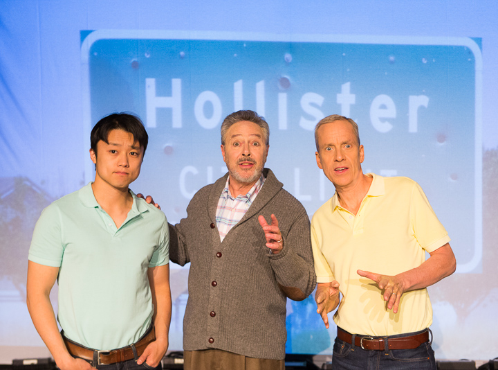 Pictured left to right: Daniel Chung as Endin, Donald Currie as Dobbins and John Fisher* as Aaron in FLIM-FLAM by John Fisher; A Theatre Rhinoceros Production at The Eureka Theatre. Photo by David Wilson.
