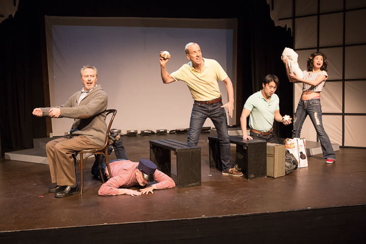 Pictured left to right: Donald Currie as Dobbins, Joe Tally as Bus Driver, John Fisher* as Aaron, Daniel Chung as Endin and Krystle Piamonte as Zika Mom in FLIM-FLAM by John Fisher in FLIM-FLAM by John Fisher A Theatre Rhinoceros Production at the Eureka Theatre; Photo by David Wilson.