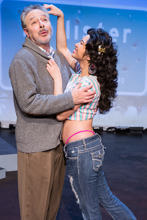 Pictured left to right: Donald Currie as Dobbins and Krystle Piamonte as Zika Mom Pictured left to right: Donald Currie as Dobbins and Krystle Piamonte as Zika Mom in FLIM-FLAM by John Fisher A Theatre Rhinoceros Production at the Eureka Theatre; Photo by David Wilson.