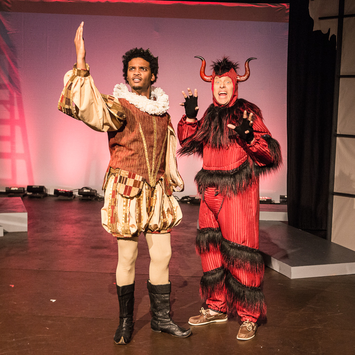 Pictured left to right: Jesse Vaughn as Hammer and John Fisher* as Aaron in FLIM-FLAM by John Fisher A Theatre Rhinoceros Production at the Eureka Theatre; Photo by David Wilson.