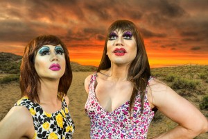 Pictured left to right: Rudy John Guerrero* as Tick and Stephen Kanaski as Miss Understanding in PRISCILLA, QUEEN OF THE DESERT - THE MUSICAL, directed by John Fisher; A Theatre Rhinoceros Production at The Eureka Theatre; Photo by David Wilson.