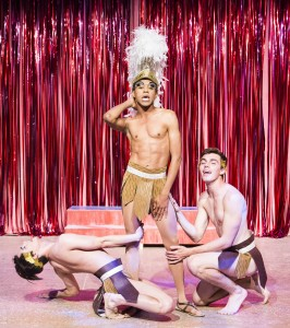 Pictured left to right: Diogo Zavadzki as Venus Dancer, Charles Peoples III as Adam and Derek Miller as Venus Dancer in PRISCILLA, QUEEN OF THE DESERT, directed by John Fisher.