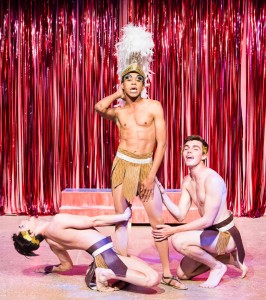 Pictured left to right: Diogo Zavadzki as Venus Dancer, Charles Peoples III as Adam and Derek Miller as Venus Dancer in PRISCILLA, QUEEN OF THE DESERT, directed by John Fisher. A Theatre Rhinoceros Production at the Eureka Theatre, Photo by David Wilson.