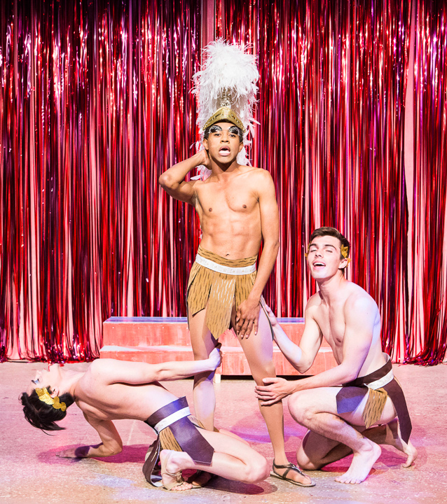 : Pictured left to right: Diogo Zavadzki as Venus Dancer, Charles Peoples III as Adam and Derek Miller as Venus Dancer in PRISCILLA, QUEEN OF THE DESERT, directed by John Fisher. A Theatre Rhinoceros Production at the Eureka Theatre, Photo by David Wilson.