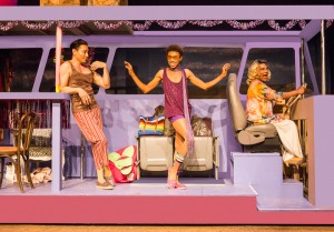 Pictured left to right: Rudy Guerrero as Tick, Charles Peoples III as Adam, and Darryl Jones as Bernadette in PRISCILLA, QUEEN OF THE DESERT, directed by John Fisher.