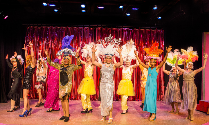 Pictured left to right: Darryl V. Jones* as Bernadette, Charles Peoples III as Adam, Rudy Guerrero* as Tick and the Company in PRISCILLA, QUEEN OF THE DESERT, directed by John Fisher. A Theatre Rhinoceros Production at the Eureka Theatre, Photo by David Wilson.