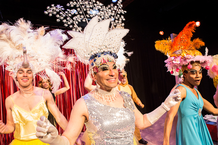 : Pictured left to right: Derek Miller as Peacock, Rudy Guerrero as Tick, Charles Peoples III as Adam and the Company in PRISCILLA, QUEEN OF THE DESERT, directed by John Fisher. A Theatre Rhinoceros Production at the Eureka Theatre, Photo by David Wilson.