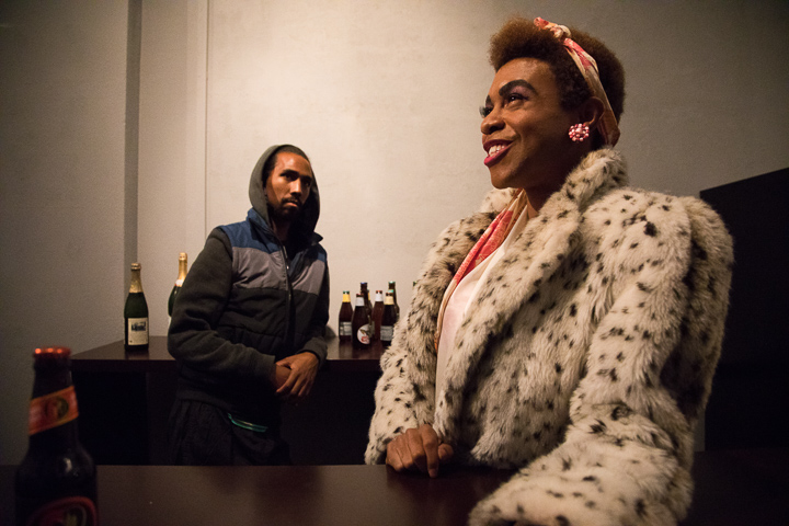 Pictured left to right: André San-Chez as Bradford and Charles Peoples III as Pink in THE LEGEND OF PINK by Kheven LaGrone; Directed by AeJay Mitchell; a Theatre Rhinoceros Production at the Gateway Theatre (Formerly the Eureka Theatre); Photo by Steven Ho.