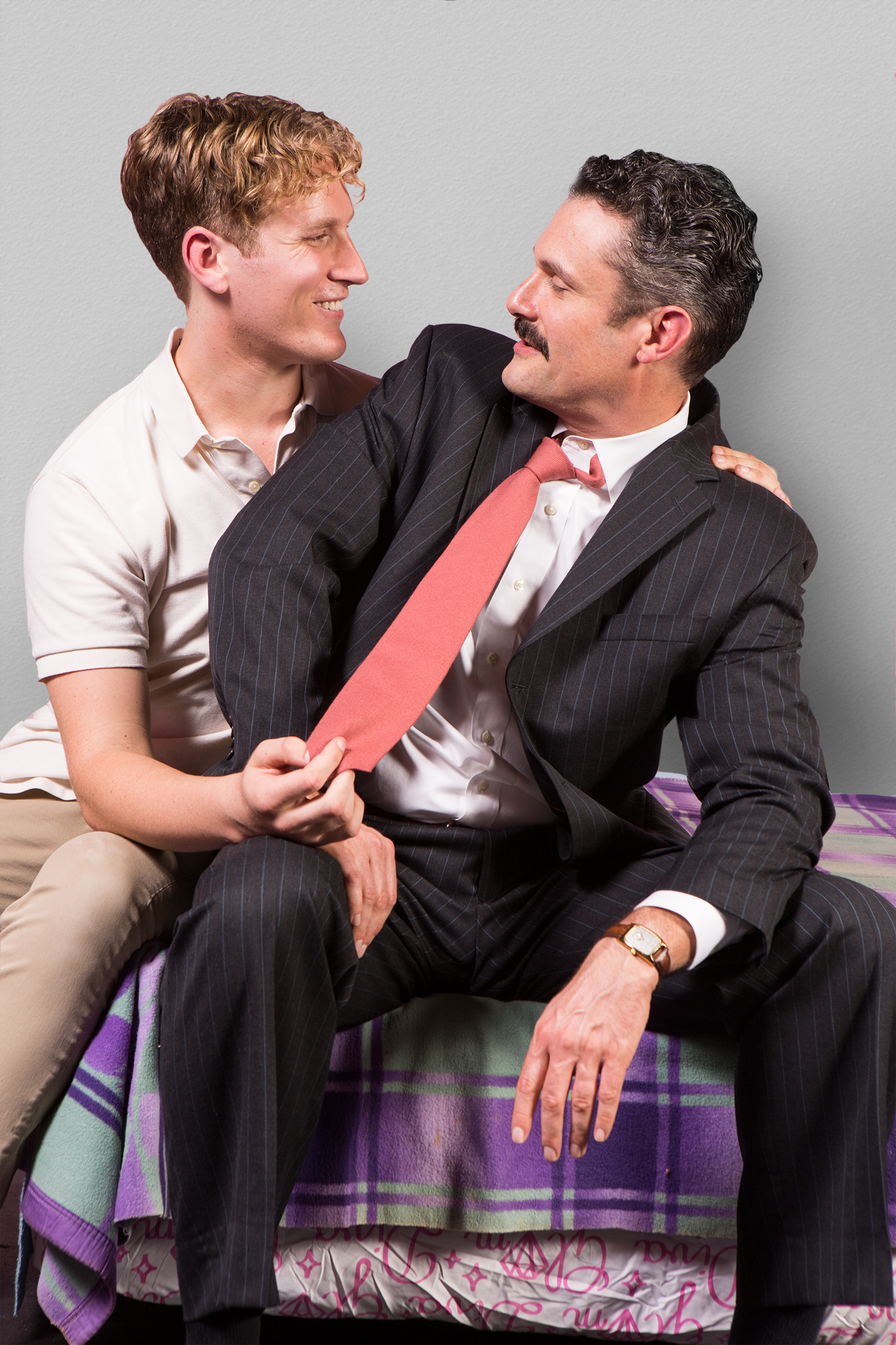 Pictured left to right: Morgan Lange as Tommy Boatwright and Benoît Monin as Bruce Niles in THE NORMAL HEART by Larry Kramer, a Theatre Rhinoceros Production at The Gateway Theatre (formerly The Eureka Theatre). Photo by David Wilson.