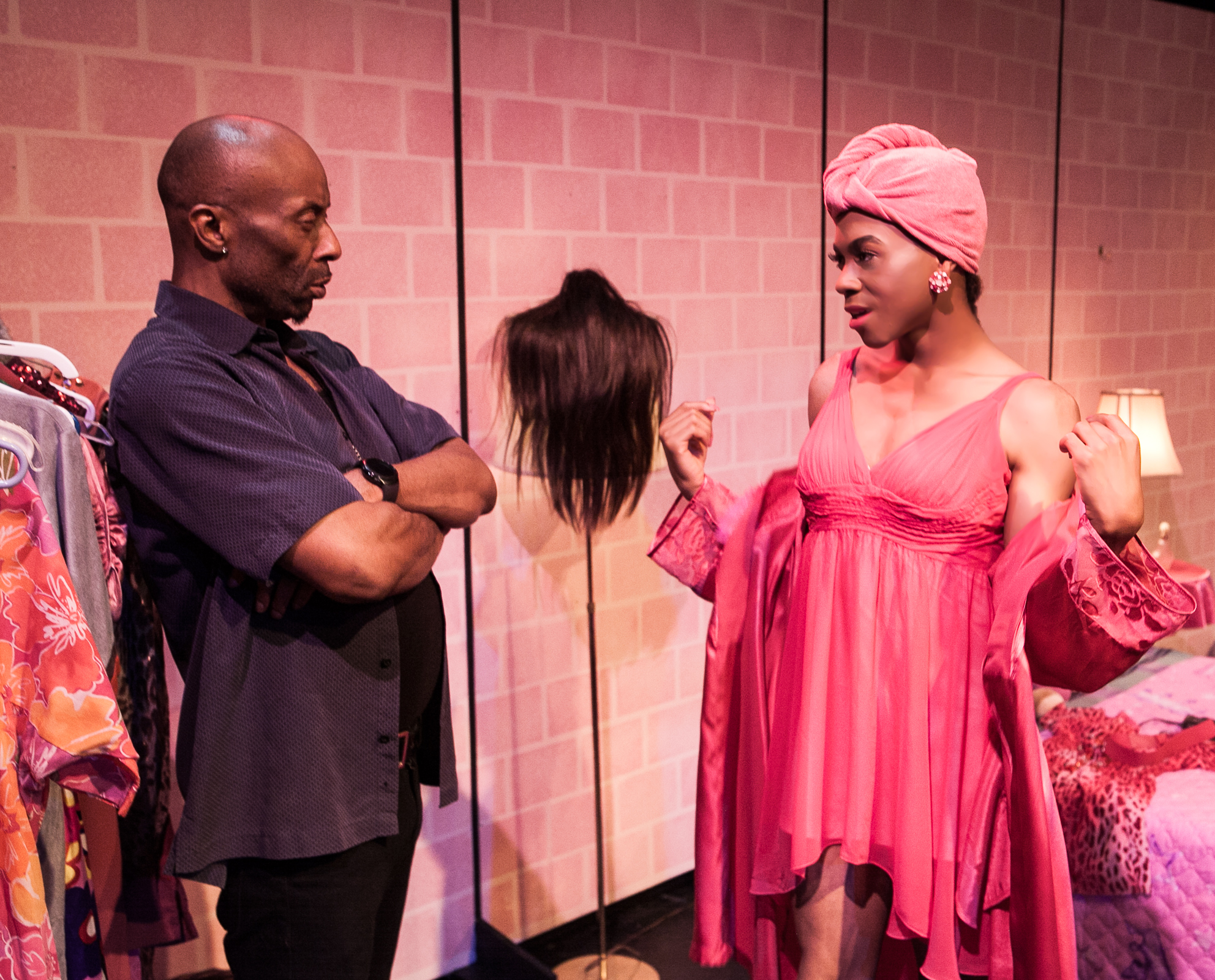 Pictured left to right: R. Shawntez Jackson as Ace and Charles Peoples III as Pink in THE LEGEND OF PINK by Kheven LaGrone, directed by AeJay Mitchell; A Theatre Rhinoceros Production at The Gateway Theatre (formerly The Eureka Theatre.) Photo by David Wilson,