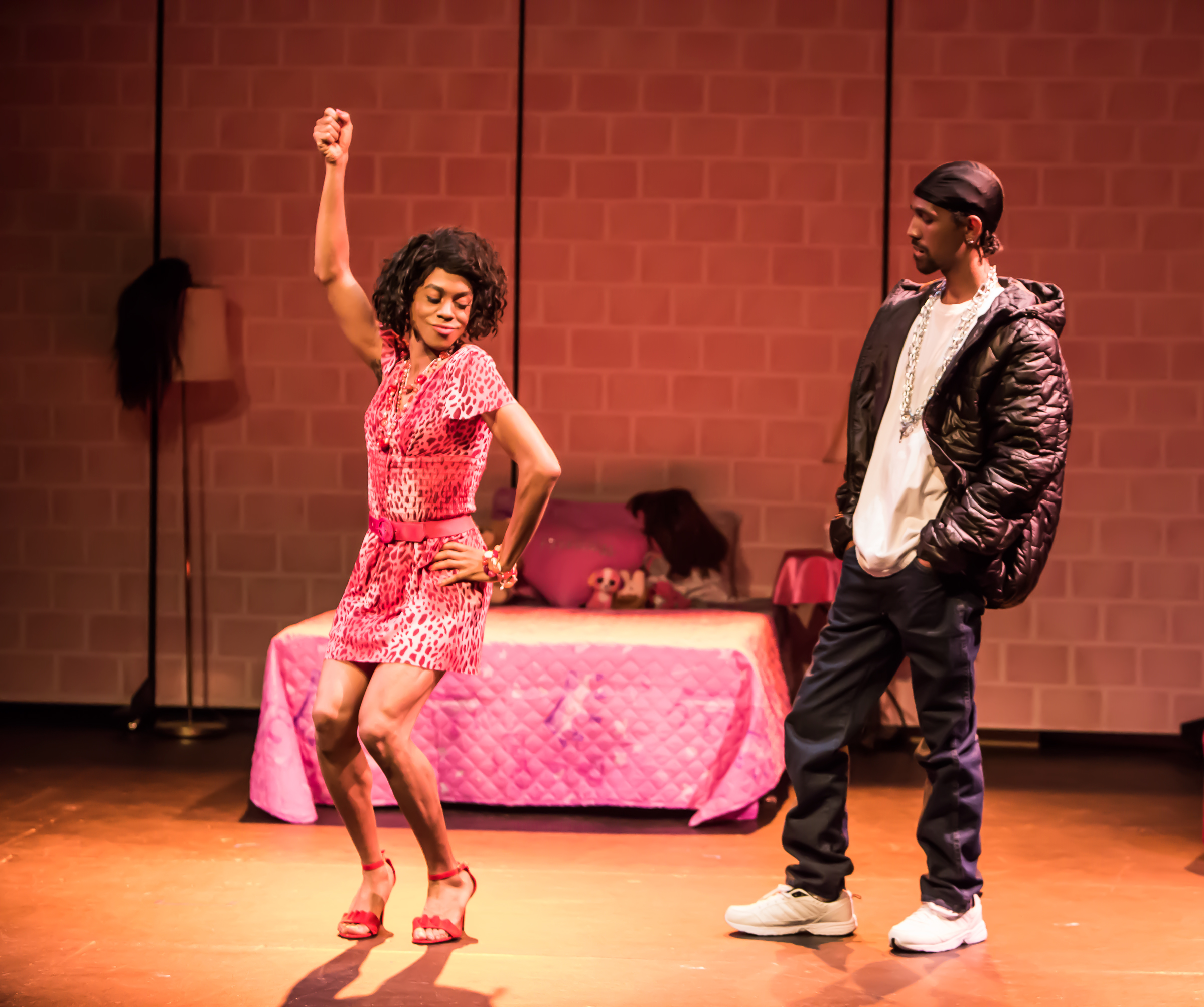 Pictured left to right: Charles Peoples III as Pink and Maurice André San-Chez as Bradford/DeShawn in THE LEGEND OF PINK by Kheven LaGrone, directed by AeJay Mitchell; A Theatre Rhinoceros Production at The Gateway Theatre (formerly The Eureka Theatre.)