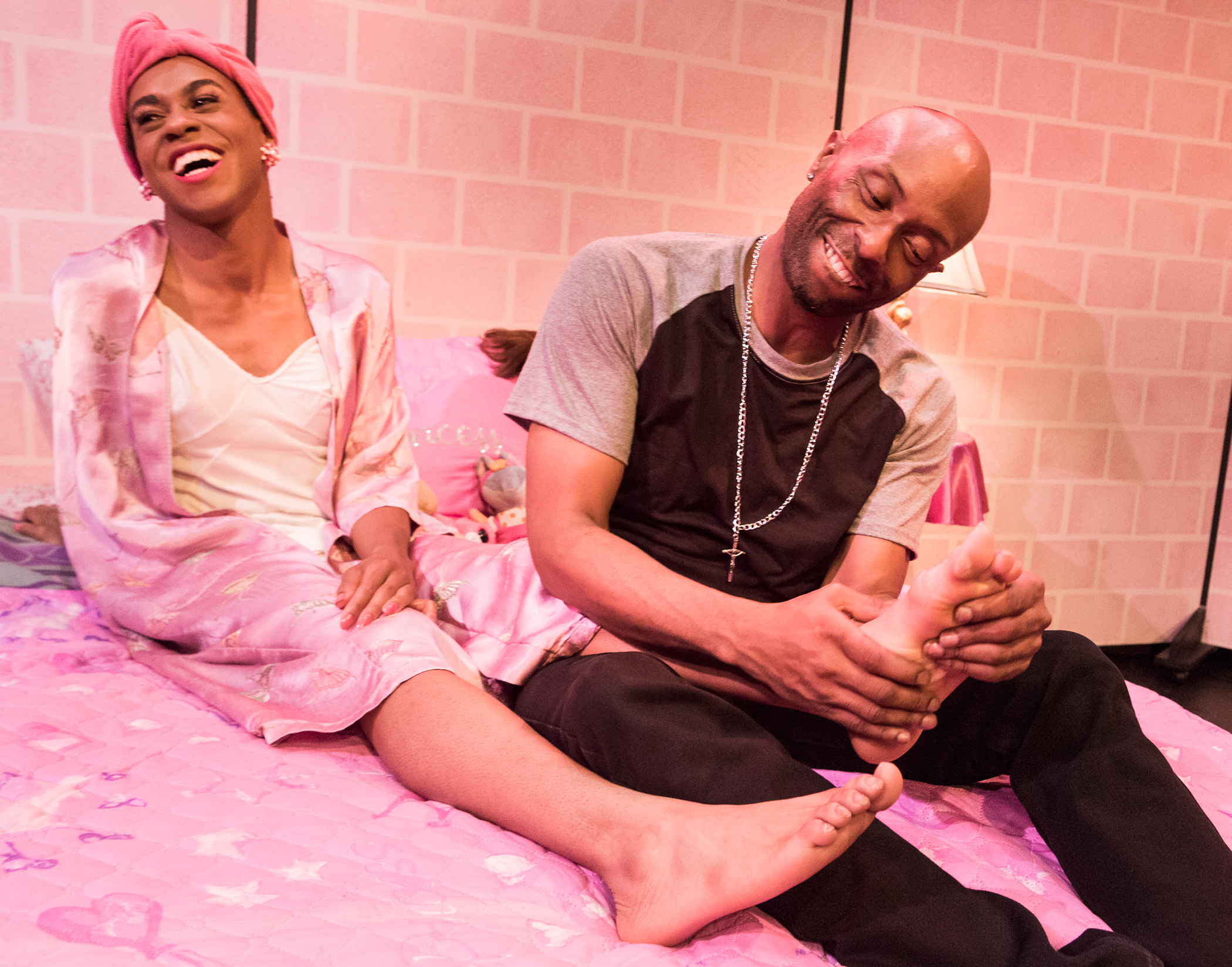 Pictured left to right: Charles Peoples III as Pink and R. Shawntez Jackson as Ace in THE LEGEND OF PINK by Kheven LaGrone, directed by AeJay Mitchell; A Theatre Rhinoceros Production at The Gateway Theatre (formerly The Eureka Theatre.)