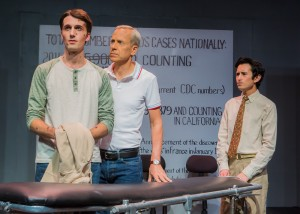 Pictured left to right: John Fisher as Ned, Jeremy Alan Howard as David, and Tim Garcia as Mickey in THE NORMAL HEART by Larry Kramer; A Theatre Rhinoceros Production at The Gateway Theatre (formerly The Eureka Theatre.) Photo by David Wilson.