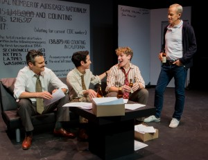 Pictured left to right: Benoît Monin as Bruce, Tim Garcia as Mickey, Morgan Lange as Tommy and John Fisher as Ned in THE NORMAL HEART by Larry Kramer; A Theatre Rhinoceros Production at The Gateway Theatre (formerly The Eureka Theatre.) Photo by David Wilson.