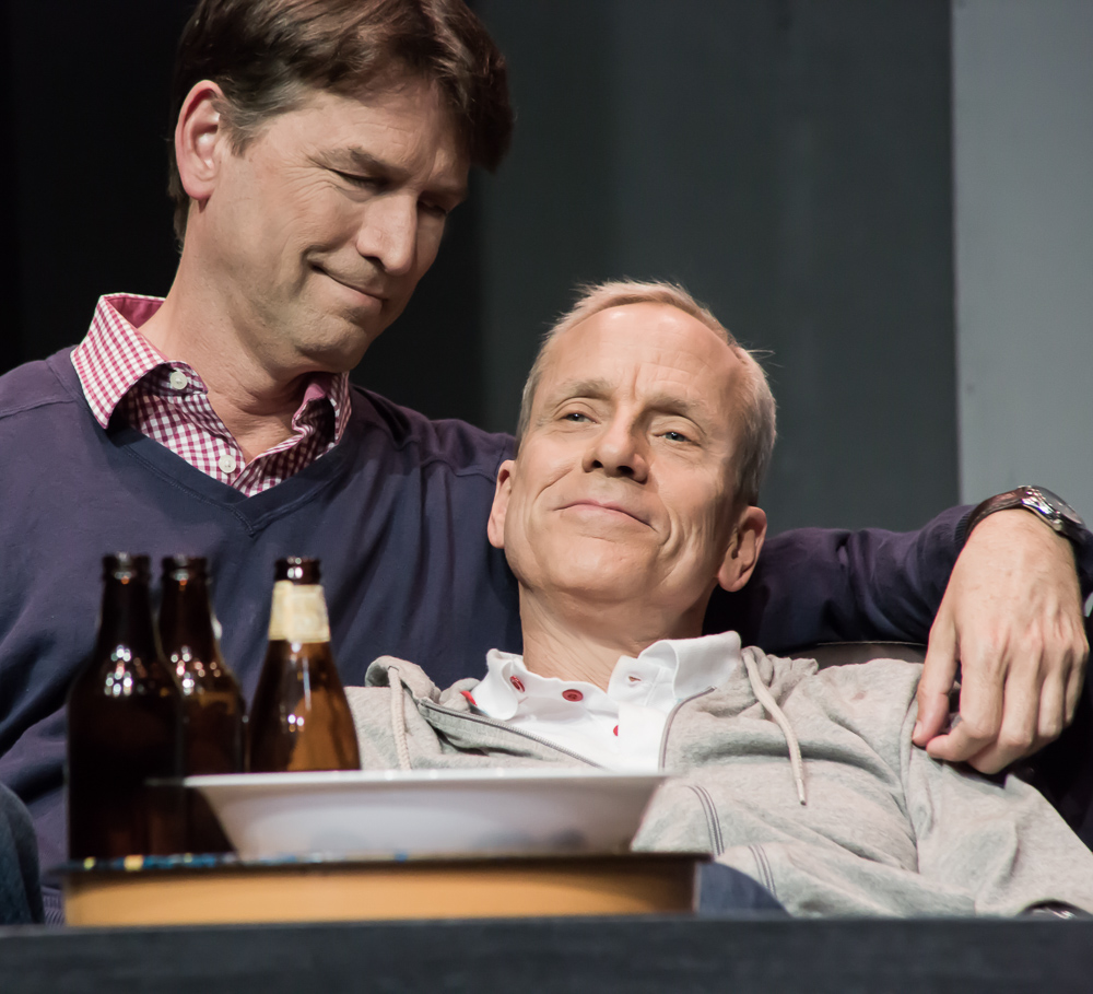Pictured left to right: Jeremy Cole as Felix and John Fisher as Ned in THE NORMAL HEART by Larry Kramer; A Theatre Rhinoceros Production at The Gateway Theatre (formerly The Eureka Theatre.) Photo by David Wilson.