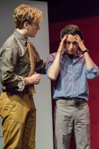 Pictured left to right: Morgan Lange as Tommy and Tim Garcia as Mickey in THE NORMAL HEART by Larry Kramer; A Theatre Rhinoceros Production at The Gateway Theatre (formerly The Eureka Theatre.) Photo by David Wilson.