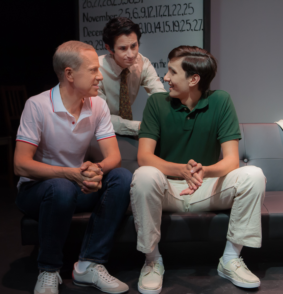 Pictured left to right: John Fisher as Ned, Tim Garcia as Mickey and Nick Moore as Craig in THE NORMAL HEART by Larry Kramer; A Theatre Rhinoceros Production at The Gateway Theatre (formerly The Eureka Theatre.) Photo by David Wilson.