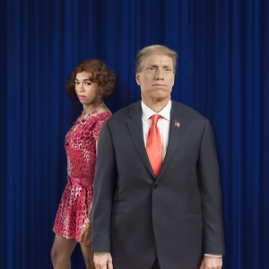 Charles Peoples III as Ruby and John Fisher as Donald Trump in the Theatre Rhinoceros production TRANSITIONS, written and directed by John Fisher. A Theatre Rhinocdeos Production at the Gateway Theater (formerly The Eureka Theater). Photo by David Wilson.