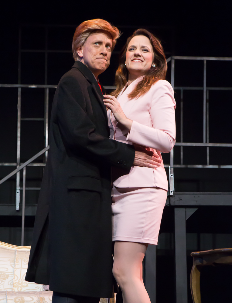 : John Fisher* as Donald Trump and Katie Rubin* as Melania Trump in John Fisher's TRANSITIONS; A Theatre Rhinoceros Production at The Gateway Theatre (formerly The Eureka); Photo by David Wilson.