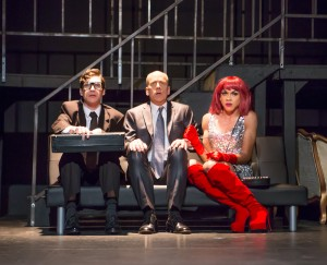 Gabriel A. Ross as Boris, John Fisher* as Vladimir Putin and Charles Peoples III as Ruby in John Fisher's TRANSITIONS