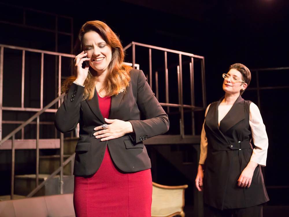 Katie Rubin* as Melania Trump and Kathryn L. Wood as Dalanka in John Fisher's TRANSITIONS; A Theatre Rhinoceros Production at The Gateway Theatre (formerly The Eureka); Photo by David Wilson.