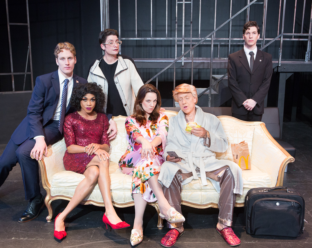 Morgan Lange as Ezekial, Charles Peoples III as Ruby, Kathryn L. Wood as Dalanka, Katie Rubin* as Melania Trump, John Fisher* as Donald Trump and Gabriel A. Ross as Toray in John Fisher's TRANSITIONS; A Theatre Rhinoceros Production at The Gateway Theatre (formerly The Eureka); Photo by David Wilson.