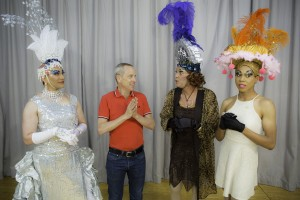 Pictured L to R: Rudy Guerrero* as Tick, John Fisher the Director, Kim Larsen as Bernadette, and Charles Peoples III* as Adam in PRISCILLA, QUEEN OF THE DESERT, The Musical, directed by John Fisher. A Theatre Rhinoceros Production at the Eureka Theatre, Photo by David Wilson.
