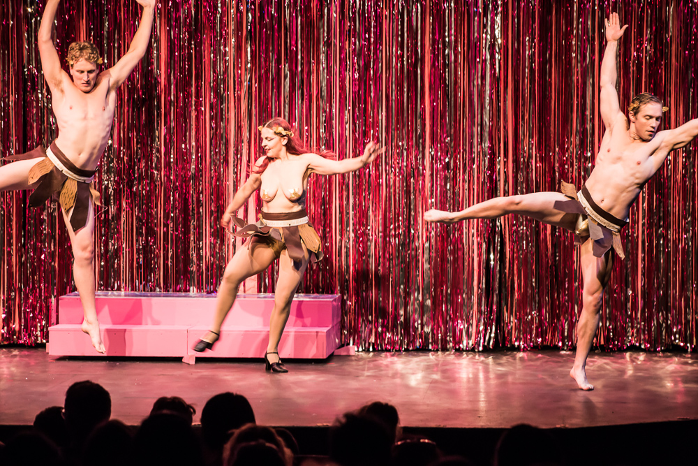 Pictured L to R: Morgan Lange as Venus Boy, Dee Wagner as Venus Girl and David Tuttle and Venus Beau in PRISCILLA, QUEEN OF THE DESERT, The Musical; Directed by John Fisher; A Theater Rhinoceros Production at the Gateway Theatre. Photo By David Wilson. *Member, Actors' Equity Association