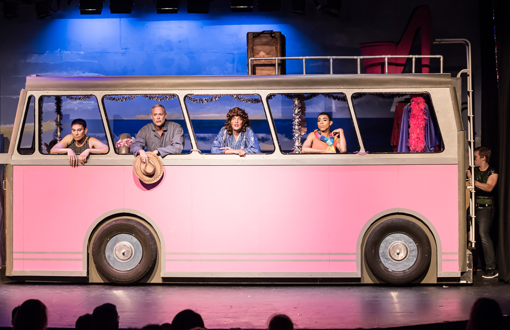 Pictured L to R: Rudy Guerrero* as Tick, Cameron Weston as Bob, Kim Larsen as Bernadette, Charles Peoples III*as Adam and David Tuttle and Lars 1 in PRISCILLA, QUEEN OF THE DESERT, The Musical; Directed by John Fisher; A Theater Rhinoceros Production at the Gateway Theatre. Photo By David Wilson. *Member, Actors' Equity Association