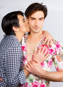 Pictured L to R: Carol Ann Walker as Liza Minnelli and Justin Genna* as Peter Allen in THE BOY FROM OZ, a Theatre Rhinoceros Production directed by John Fisher at The Gateway Theatre. Photo: David Wilson. *Actor appears Courtesy of Actors' Equity Association.