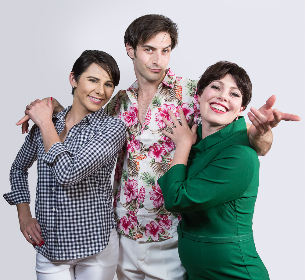 Pictured L to R: Carol Ann Walker as Liza Minnelli, Justin Genna* as Peter Allen, and Leandra Ramm* as Judy Garland in THE BOY FROM OZ, a Theatre Rhinoceros Production directed by John Fisher at The Gateway Theatre. Photo: David Wilson. *Actor appears Courtesy of Actors' Equity Association.