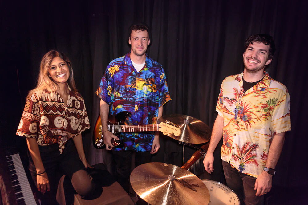 Pictured L to R: The Band - Sheela Ramesh, Conductor/Pianist; Nick Martin, Guitar; David Walker, Drums in THE BOY FROM OZ, directed by John Fisher; a Theatre Rhinoceros Production at The Gateway Theatre. Photo by David Wilson.