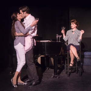 Pictured L to R: Carol Ann Walker as Liza Minnelli, Justin Genna* as Peter Allen and Leandra Ramm* as Judy Garland in THE BOY FROM OZ, directed by John Fisher; a Theatre Rhinoceros Production at The Gateway Theatre. Photo by David Wilson.