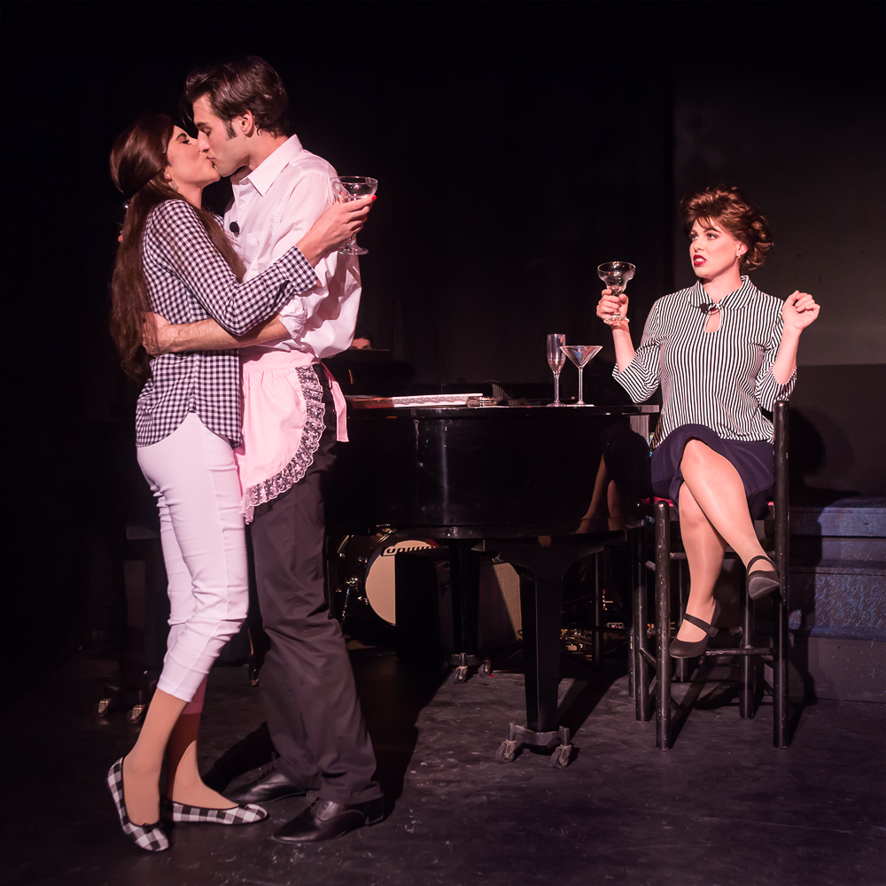 Pictured L to R: Carole Ann Walker as Liza Minnelli, Justin Genna* as Peter Allen and Leandra Ramm* as Judy Garland in THE BOY FROM OZ, directed by John Fisher; a Theatre Rhinoceros Production at The Gateway Theatre. Photo by David Wilson.