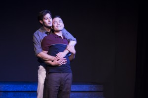 Pictured L to R: Justin Genna* as Peter Allen and Justin Lopez as Greg Connell in THE BOY FROM OZ, directed by John Fisher; a Theatre Rhinoceros Production at The Gateway Theatre. Photo by David Wilson.