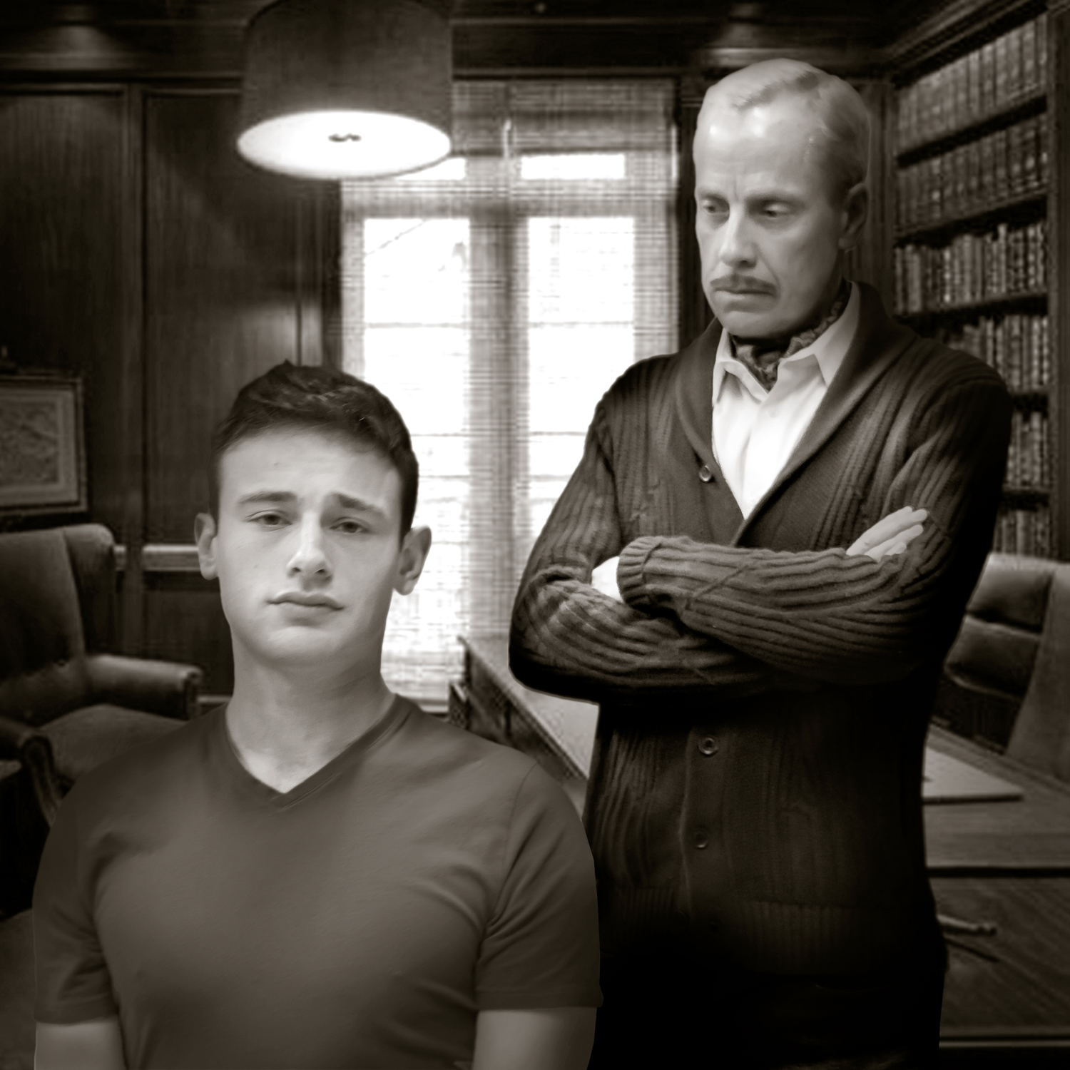 Pictured left to right: Jake Soss as Clifford Anderson and John Fisher* as Sidney Bruhl in Ira Levin' s Classic Thriller DEATHTRAP; A Theatre Rhinoceros Production at The Gateway Theatre; Photo by David Wilson. *Member, Actors' Equity Association.